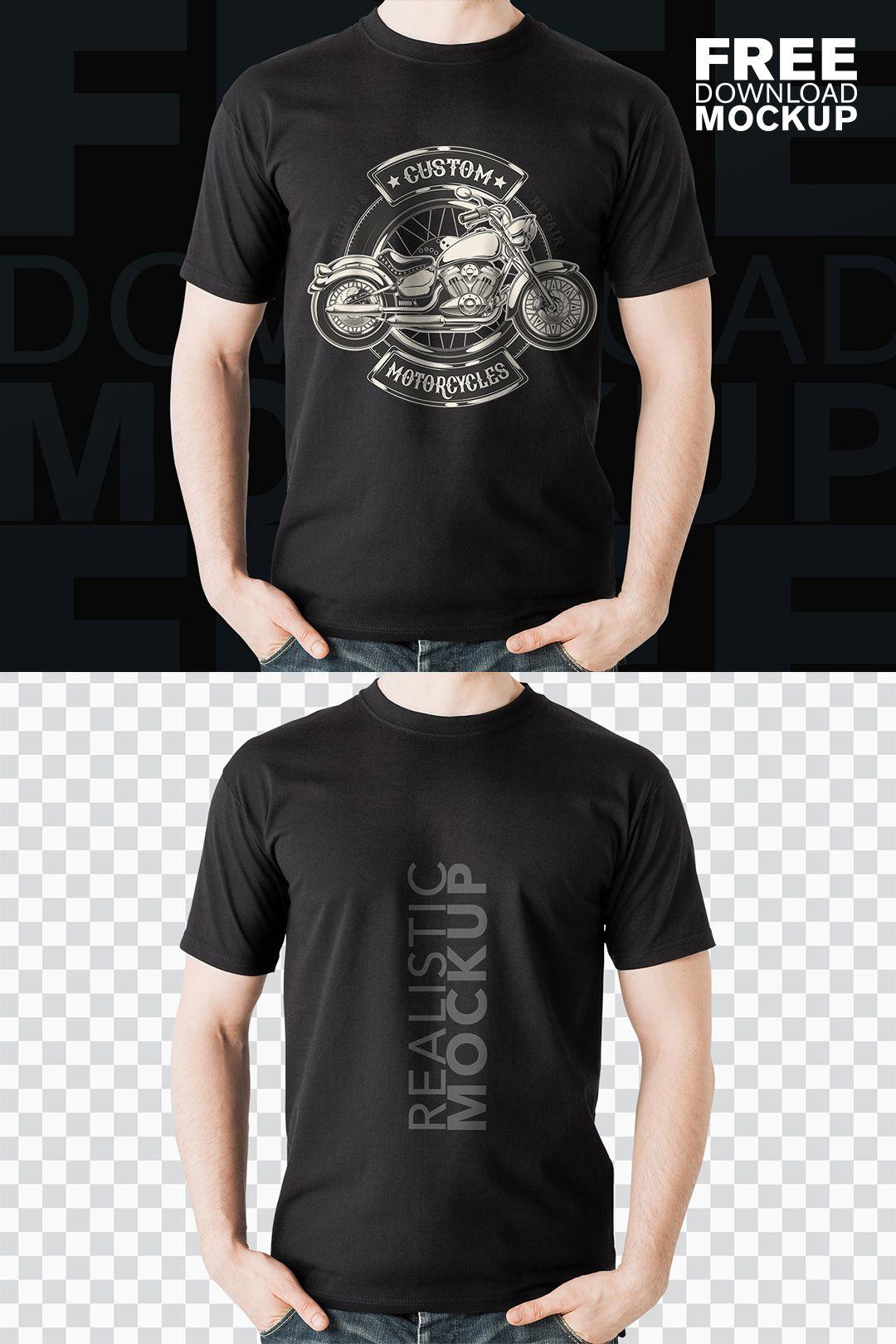 Download Black Realistic T Shirt Free Psd Mockup T Shirt Free Shirts Shirts