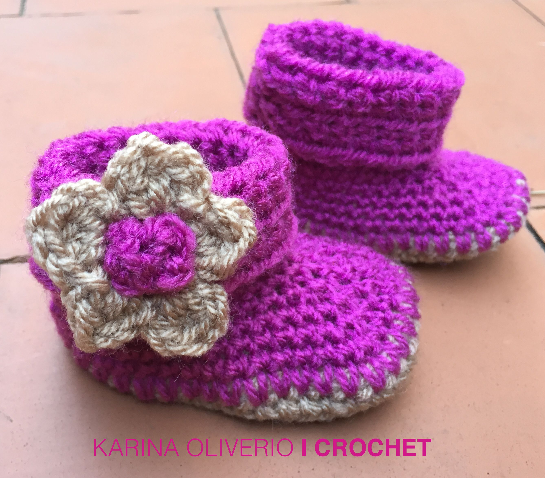 Crochet baby boots pattern, patucos o escarpines para niñas con ...