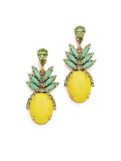 The Most Popular Fruit in Fashion Isn't Watermelon — But It's Still Supersweet is part of Colorful chandelier earrings, Designer earrings studs, Elizabeth cole earrings, Pineapple jewelry, Elizabeth cole jewelry, Swarovski crystal jewelry - From printed dresses to patterned phone cases to watermelonthemed jewelry, there are so many ways to juice up your summer outfit