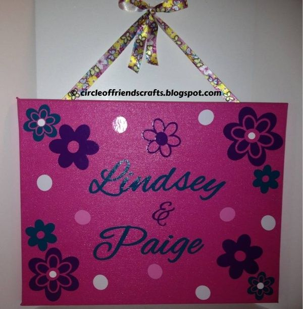 Dorm Room canvas - paint your names on it and decorate, then hang outside your door!