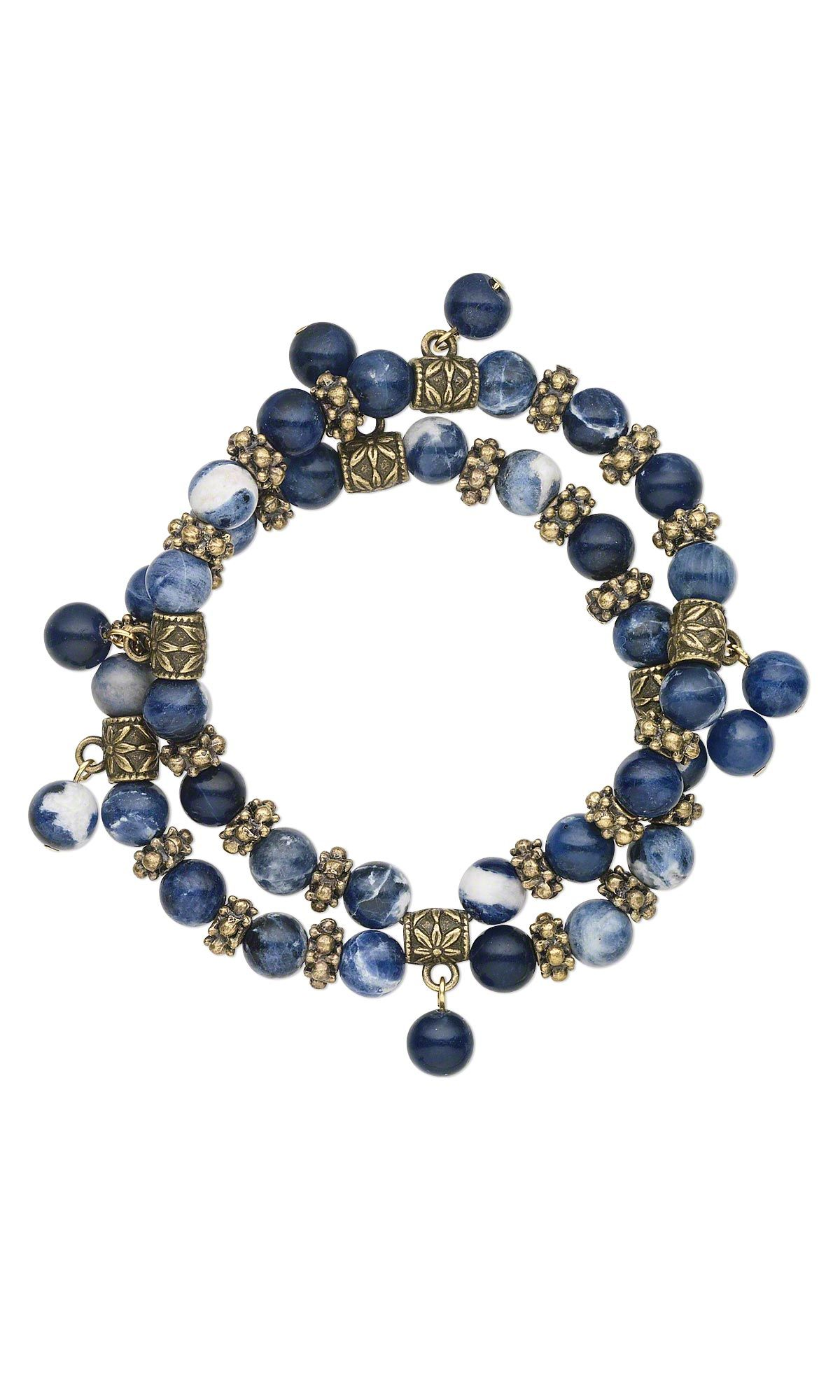 Jewelry Design   Double Strand Bracelet With Sodalite Gemstone Beads And  Antiqued Brass Plated