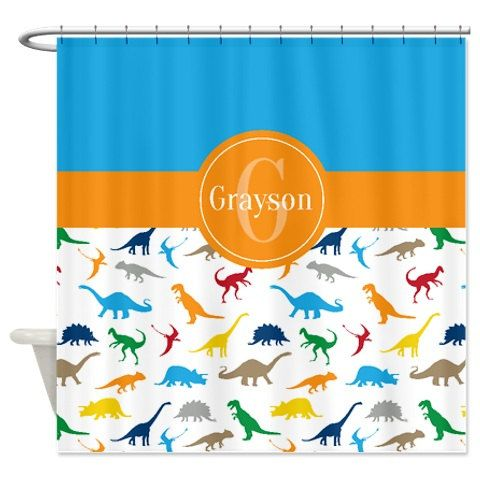 Custom Dinosaur Shower Curtain Monogrammed Name Orange Blue Green Red Yellow Tan Grey Turquoise OR C