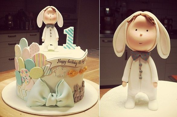 bunny suit first birthday cake by Mutlu Dukan Baptism Pinterest