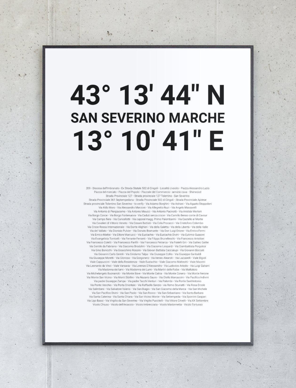 Koordinatenposter von San Severino Marche – Komplett personalisierbar.