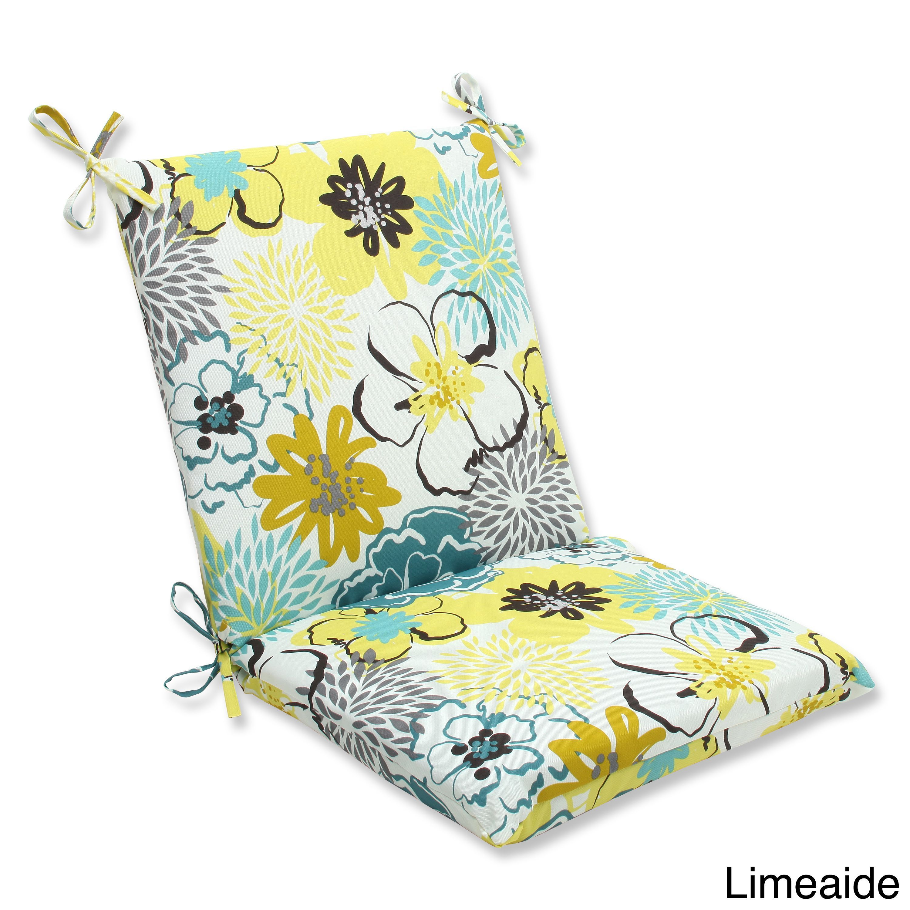Pillow perfect floral fantasy squared corners chair outdoor cushion