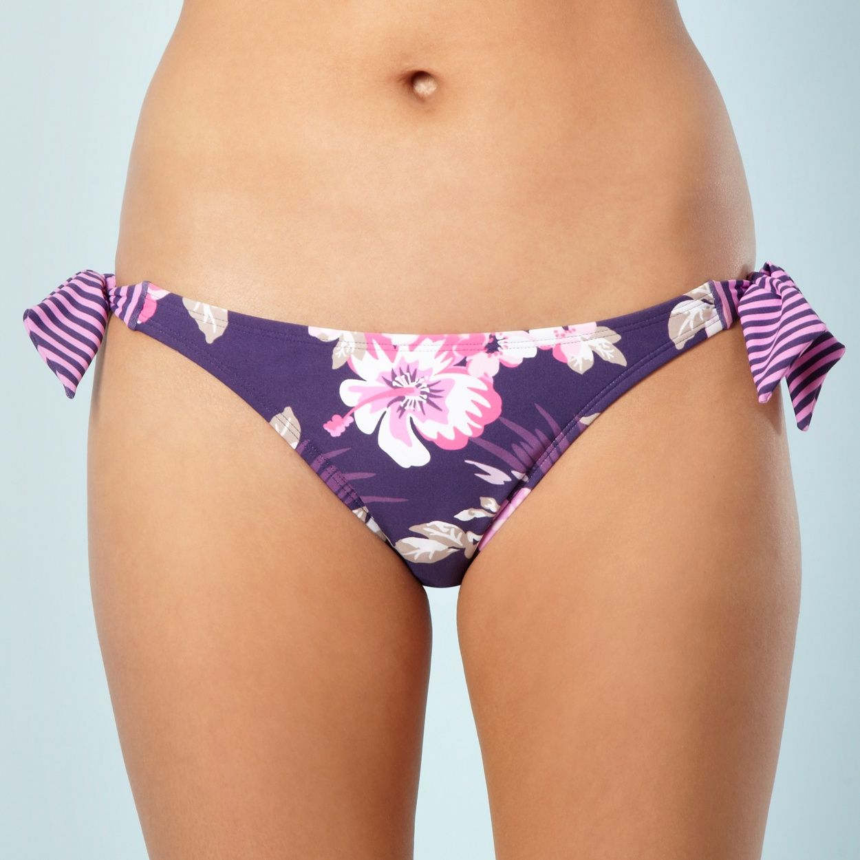 Mantaray Purple Hibiscus Flower High Leg Bikini Bottoms At