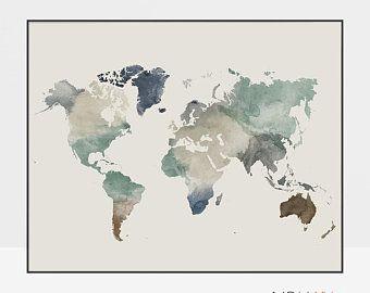 Travel map, Large World Map, World map wall art, World map poster, Map painting, Gift Decor, ArtPrintsVicky #worldmapmural