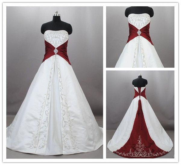 Cheap Custom 2015 Burgundy And White Wedding Dresses Vintage ...