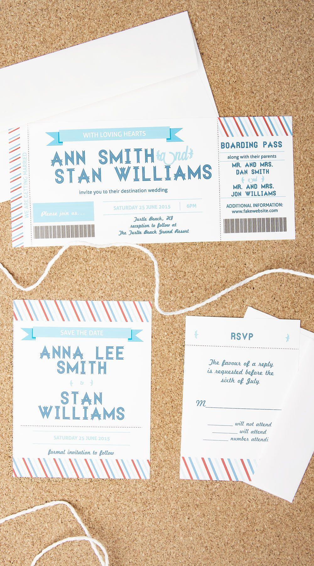 Boarding Pass Wedding Invitations | Wedding | Pinterest | Boarding ...