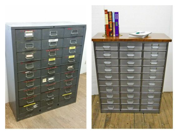 Vintage Organizer Refinished Parts Cabinet 27 Drawers Wood Top Metal  Industrial Storage Crafters Storage Media Stand
