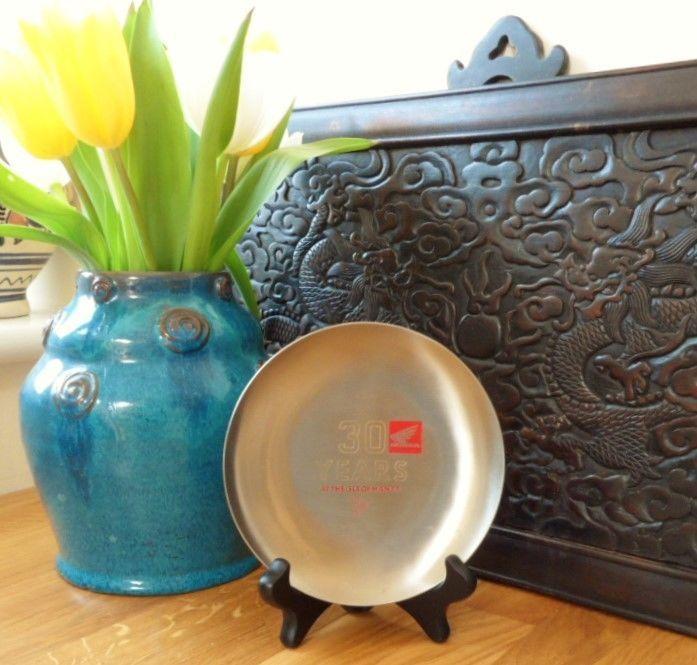 Honda 30 Years Isle of Man TT Race 1989 Commemorative Vintage Brushed Steel Dish
