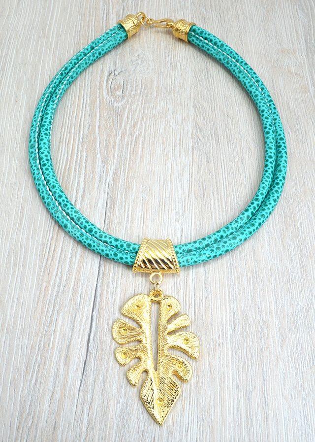 Collares collar cuero turquesa accesorios pinterest bijuterias biju y bijus - Collares de cuero ...