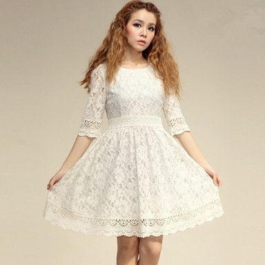 Sweet Round Collar Lace Dress For Women Beige http://www.jollychic.com