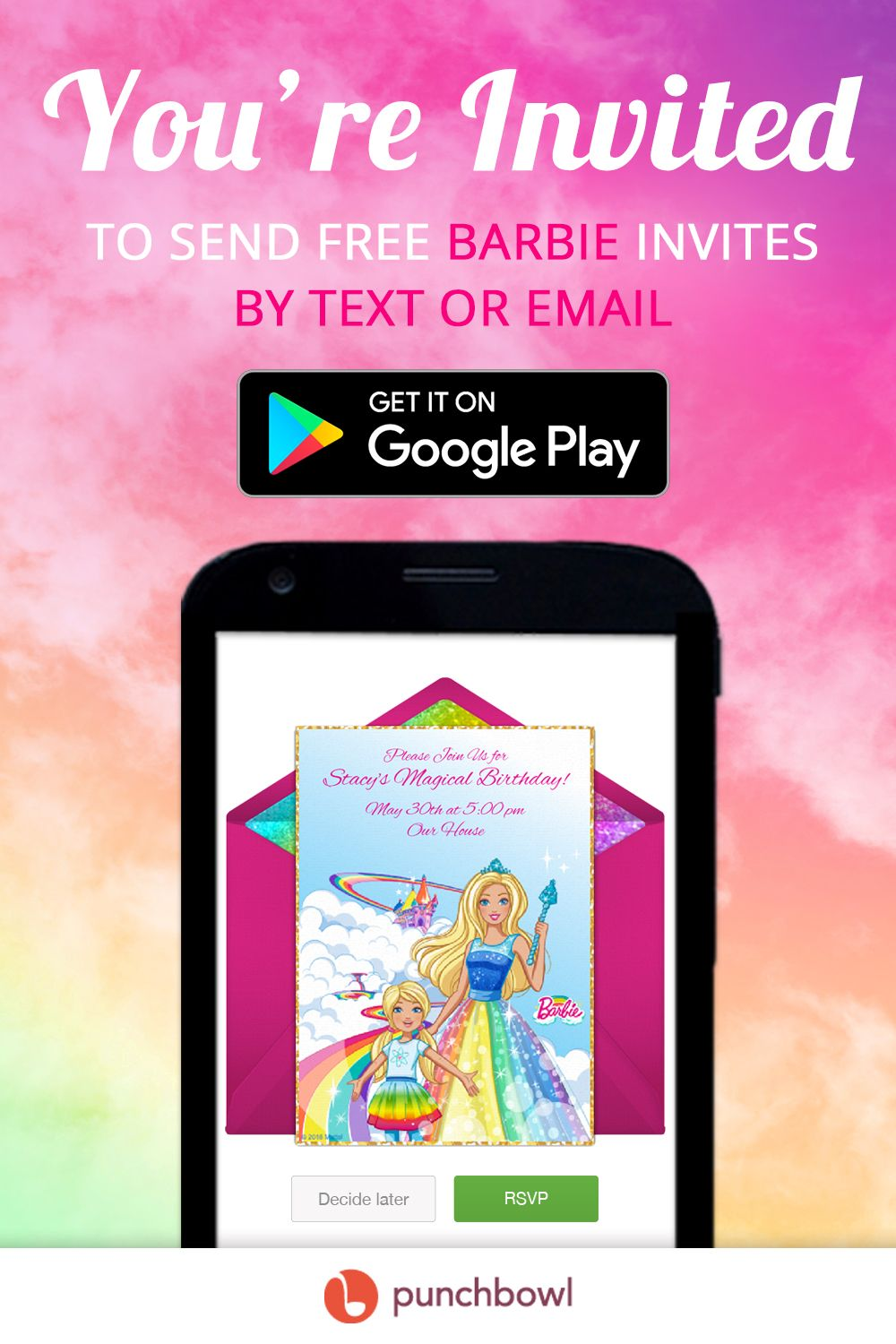 Send Free Barbie Invitations By Text Message Right From Your Phone And Get RSVPs Instantly With