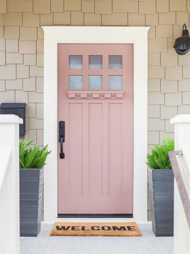 muted pink/tan front door #walkwaystofrontdoor