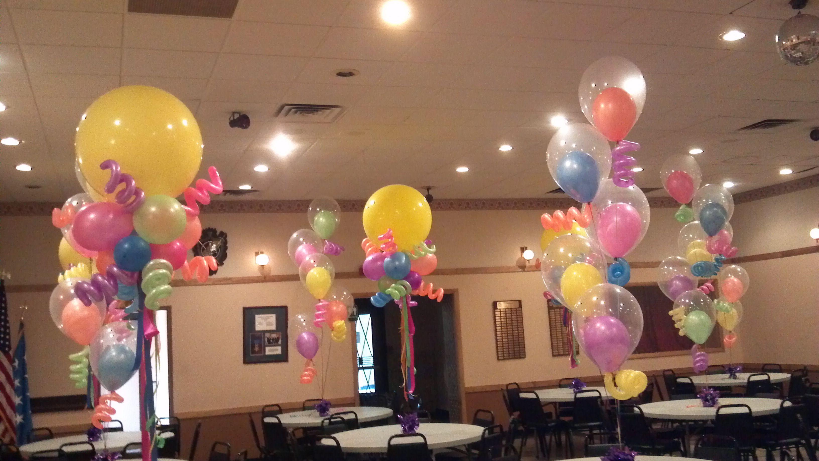 Neon color balloon centerpieces