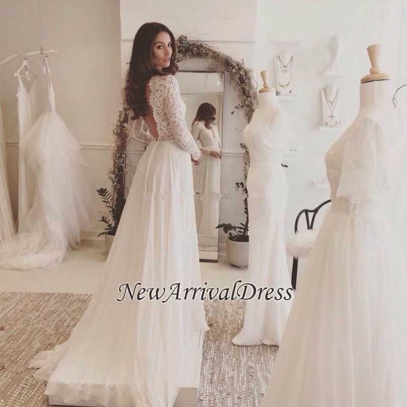 18e288f4ee7e Sexy Chiffon Long-Sleeves 2018 V-neck Lace Wedding Dress