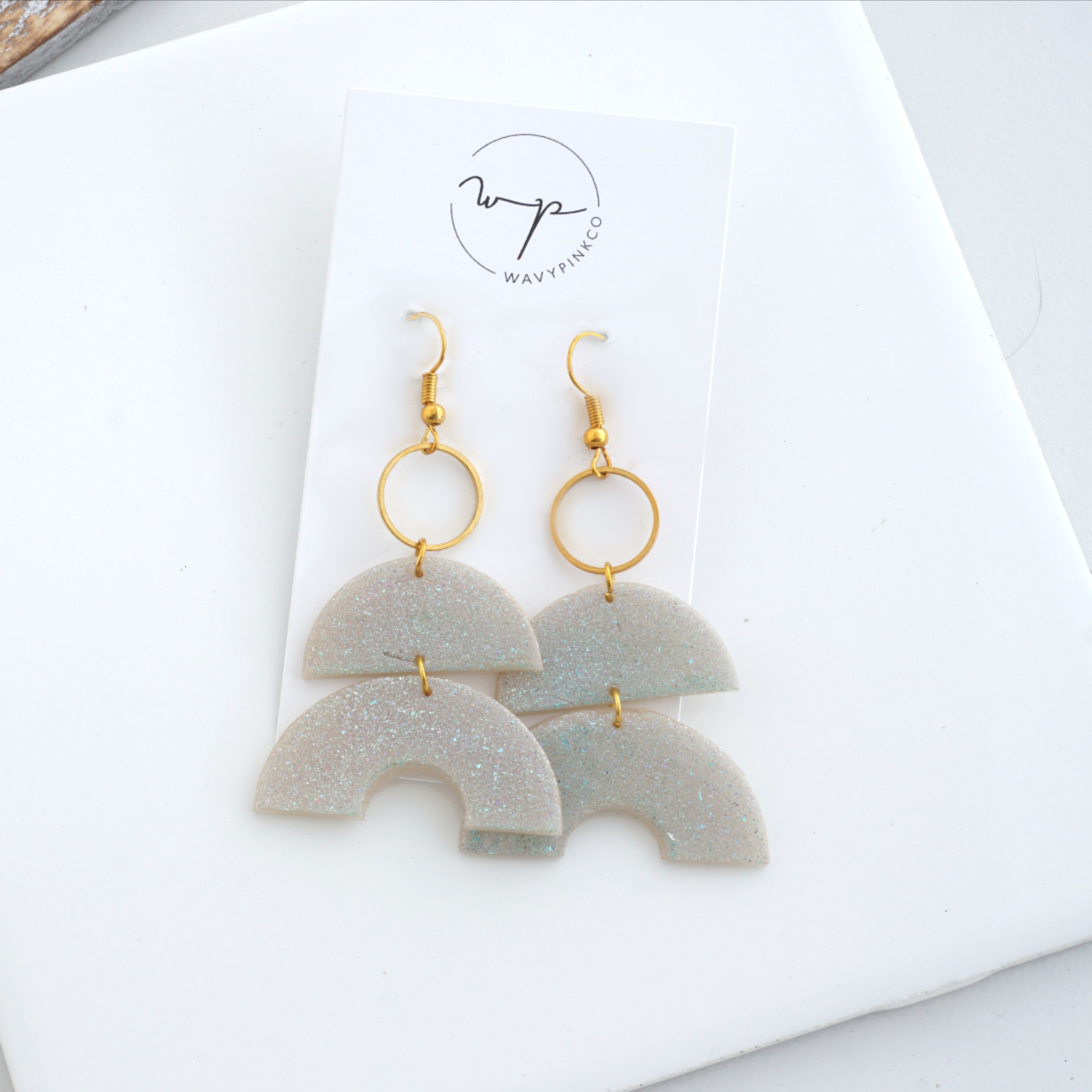 Clay Clay Earrings Sparkle Silver Simple Handmade White Light Weight Unique Earrings Dangle Statement Light Weight Minimal