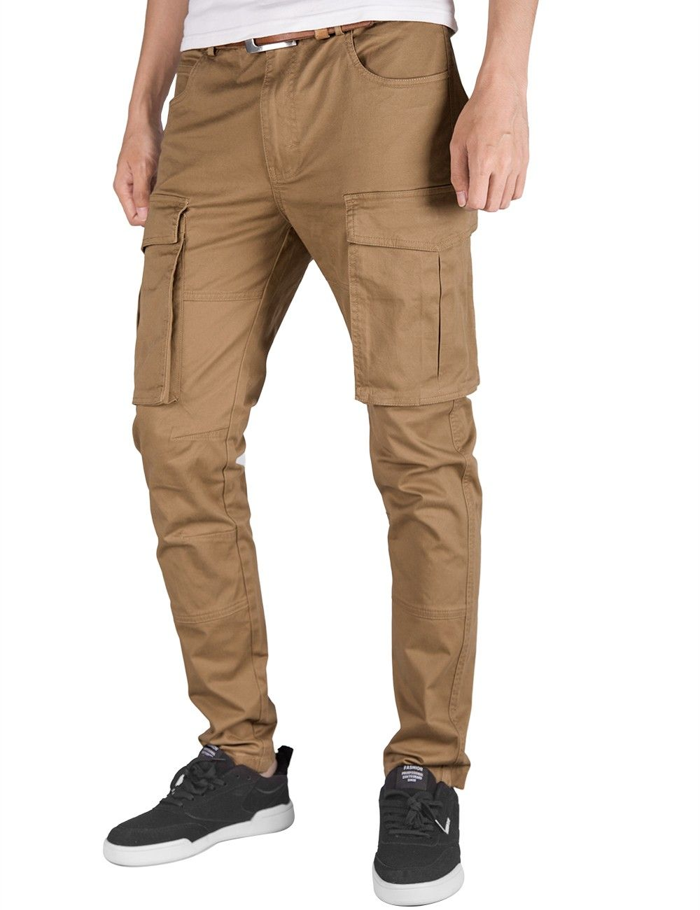 581f37a7b ITALY MORN Men Chino Cargo Jogger Pants Casual Twill Khakis Slim fit Dark  Khaki #menjoggerpants