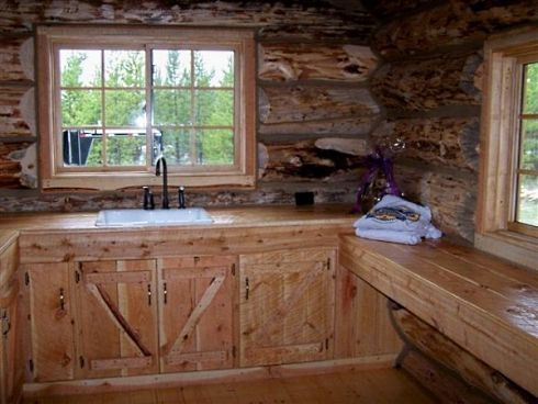 Wood Cabin Kitchen shopping for the right rustic kitchen cabinets for a log cabin