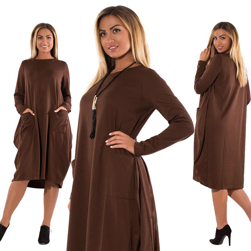 6148e5a62552a 5XL 6XL Plus Size Women Clothing Long Sleeve O-Neck Casual Dress ...