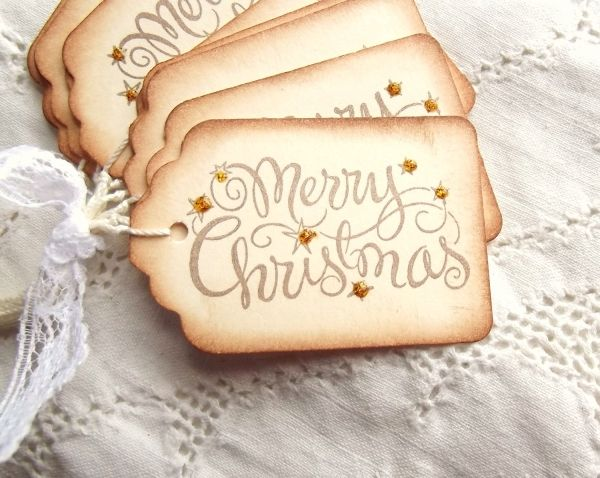 Merry Christmas Tags with Gold Sparkle - Sweetly Scrapped