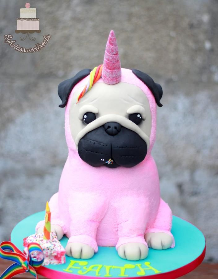 Unicorn Pug Dog Cake By Sylwia Dog Cakes Pug Dog Cake Puppy
