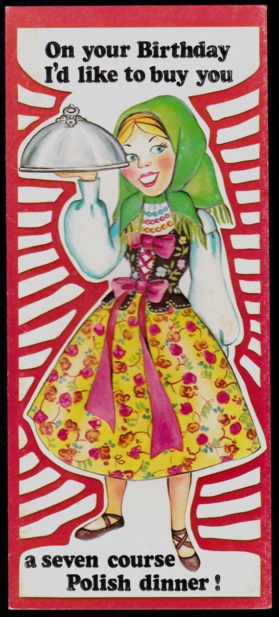 1976 Retro Studio Greeting Card Joli Funny Humor Embossed Unused Old Stock Birthday Polish Politically Incorrect Birthday Retro Greeting Cards