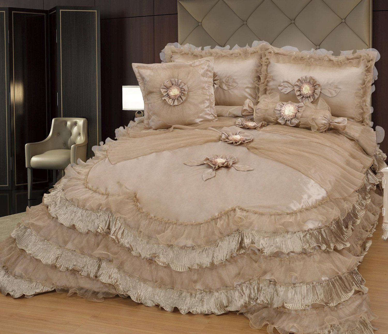 Brandream Champagne Lace Ruffle Comforter Set Luxury Noble Bed Comforter Sets Queen/King: Amazon.ca: Home & Kitchen