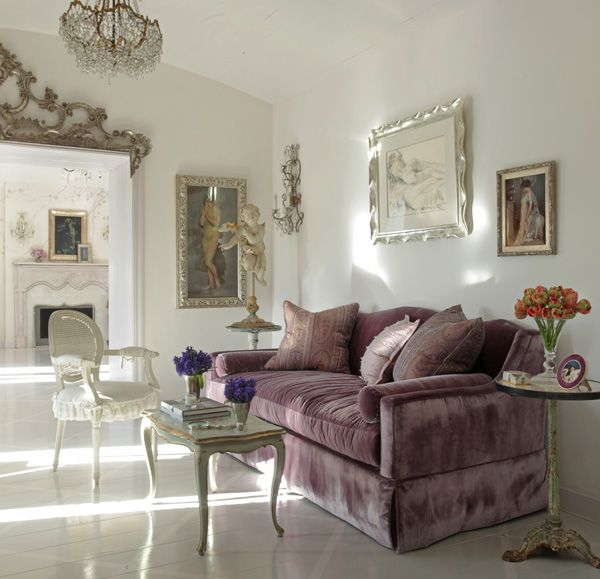Martyn lawrence bullard again silver and lavender impossibly light yet rococo elements for Silver and lilac living room