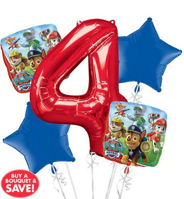 PAW Patrol 4th Birthday Balloon Bouquet 5pc Paw Patrol Party