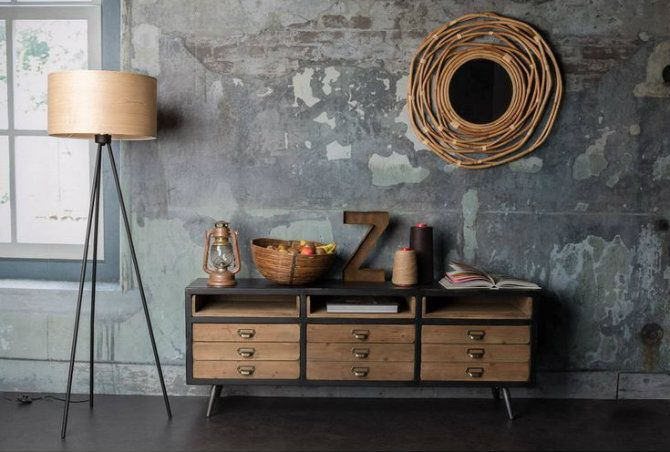 Sideboard Industrial Look ~ Use mid century modern floor lamps beside a sideboard