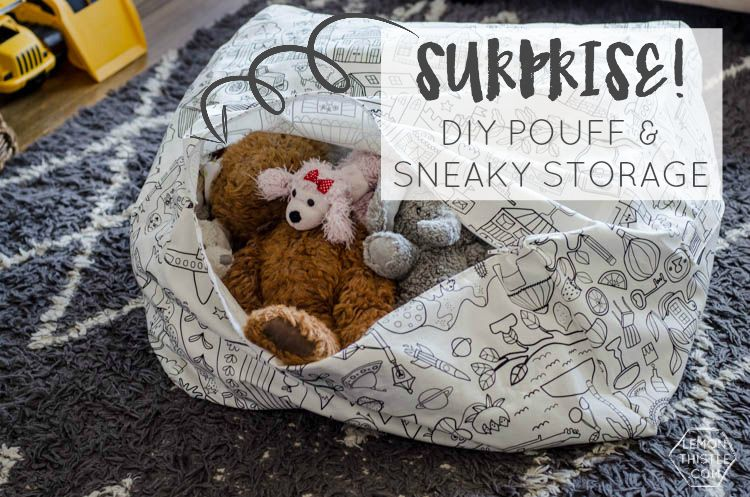 DIY Square Pouff with Sneaky Storage for Kids Plush Toys- what a great idea! Would work for extra pillows or blankets too