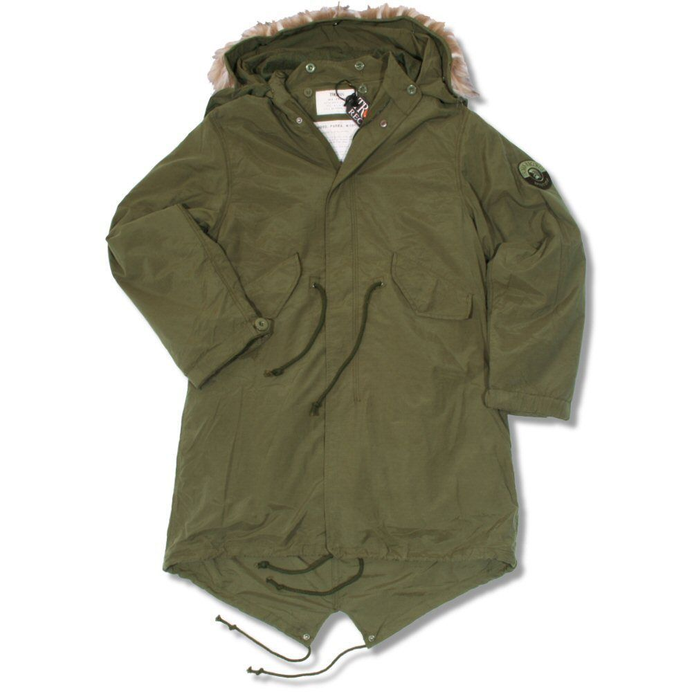 Trojan Mod 60's Retro M51 Fur Hood Fishtail Parka Coat Khaki Green ...