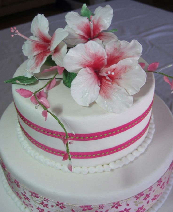 Pin Hibiscus Flower Cake Celebration Cakes Cake On Pinterest Sugar Flower Wedding Cake Flower Cake Celebration Cakes