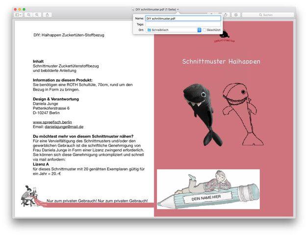 Schnittmuster HAI-HAPPEN Schultüten-Stoffbezug DIY