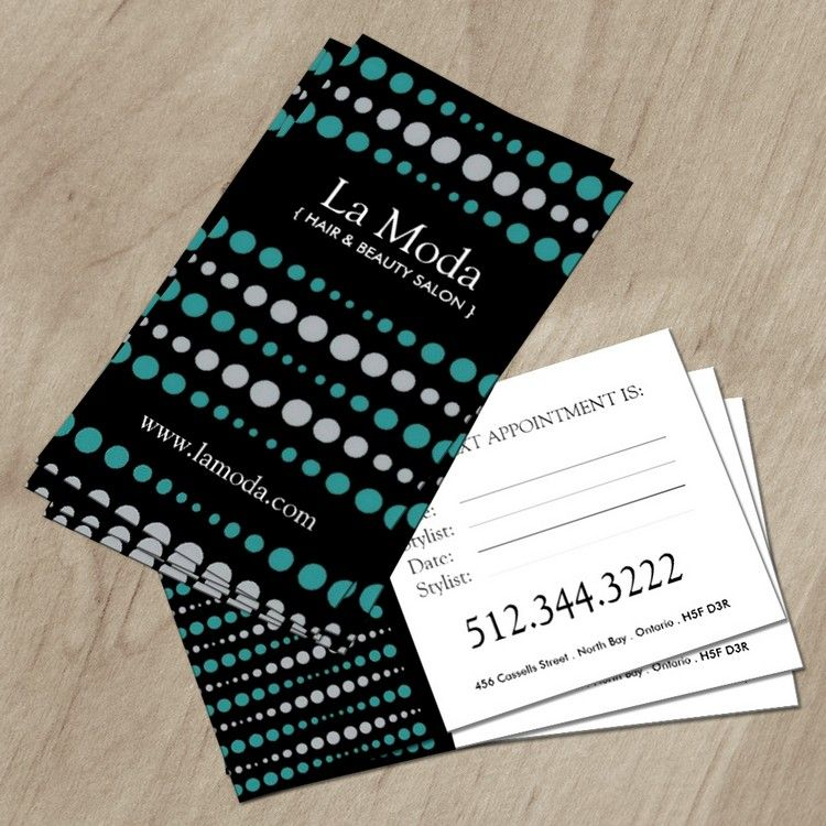 Stylish Salon Appointment Cards :: Business Cards | Business cards ...