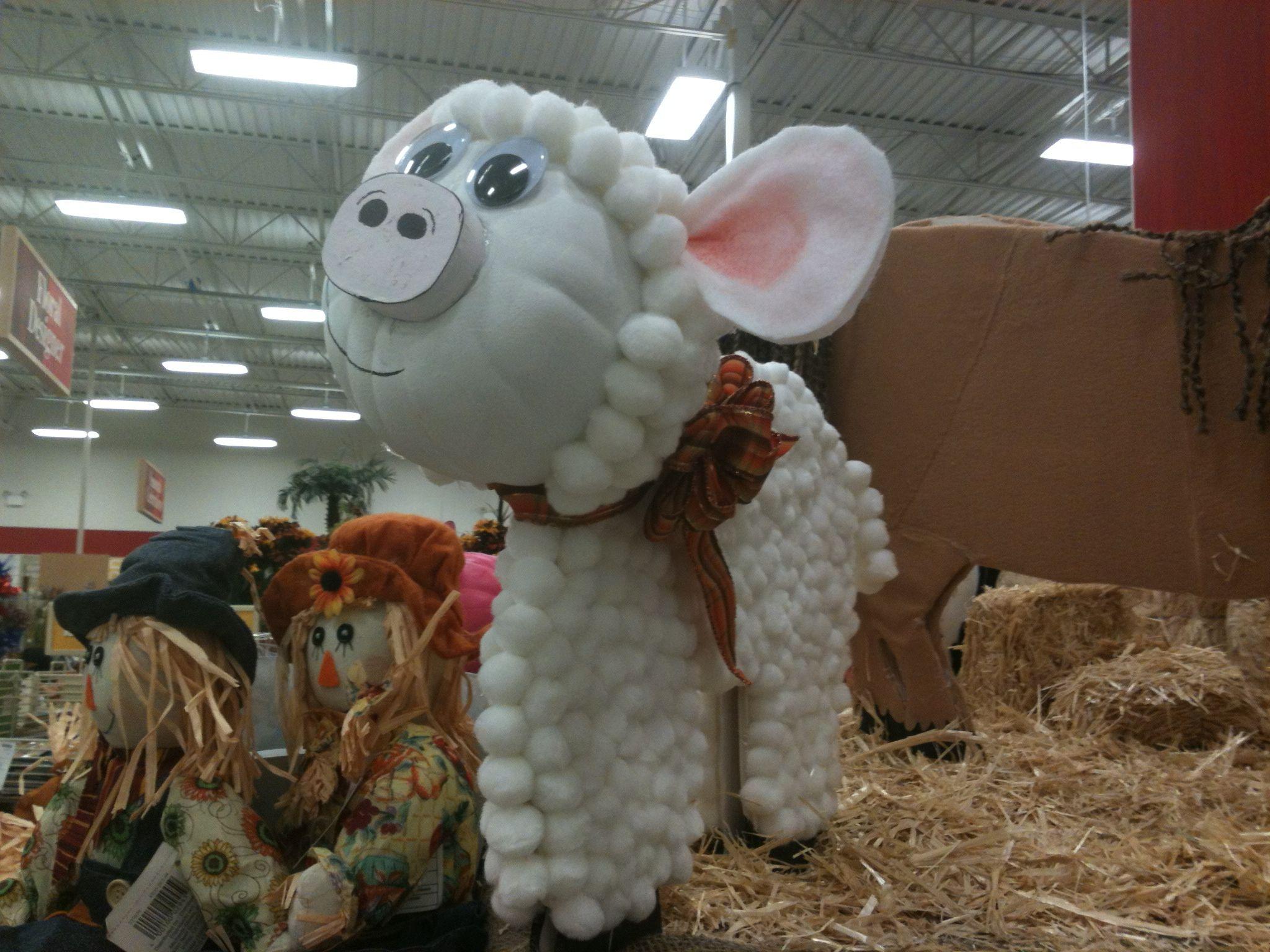 Farm animal lamb made with foam pumpkin and foam core