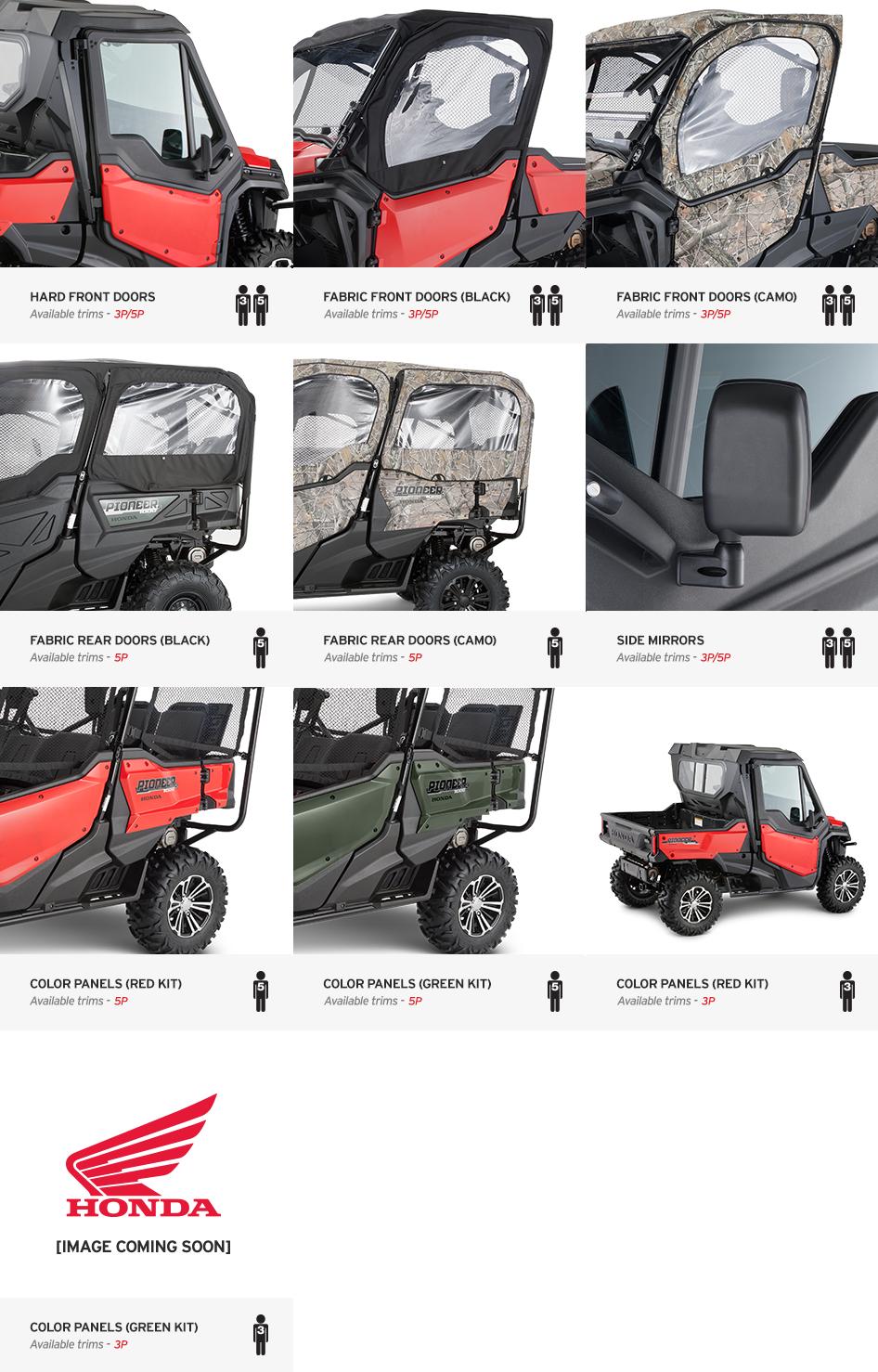 2016 Honda Pioneer 1000 Optional Doors Accessories Honda