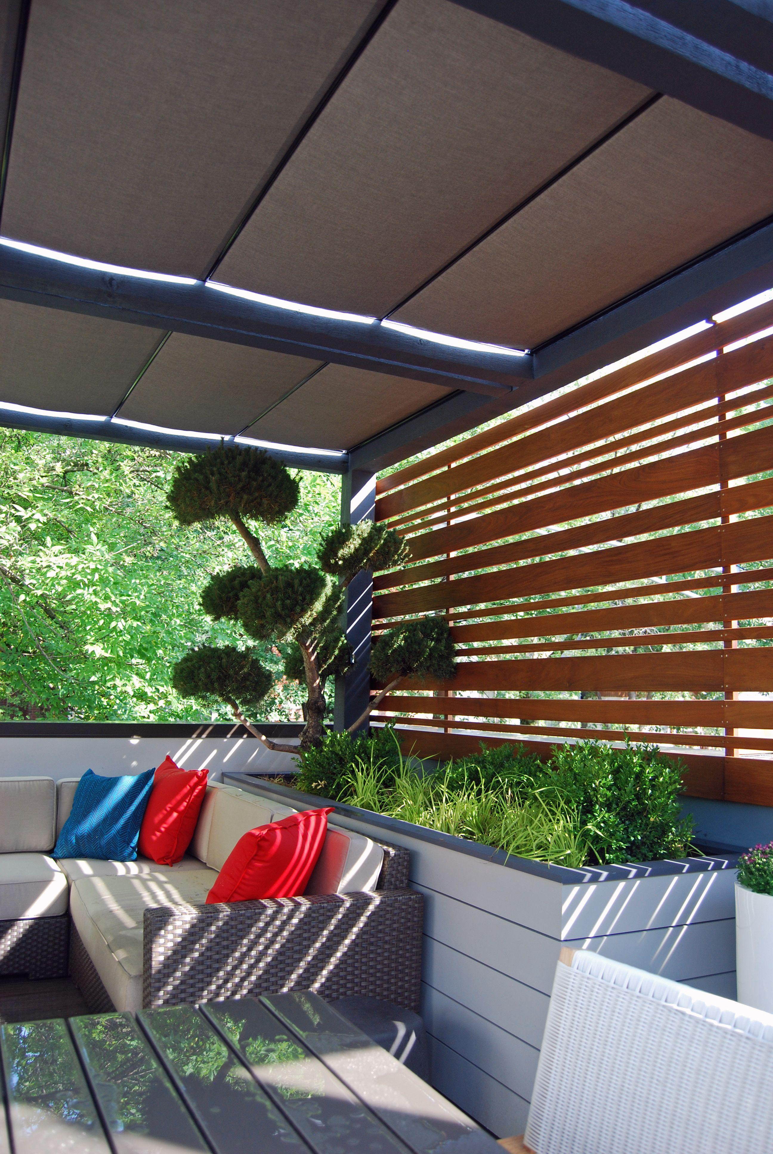 Roof Deck Pergola Retractable Shade Urban Landscape Garden Design