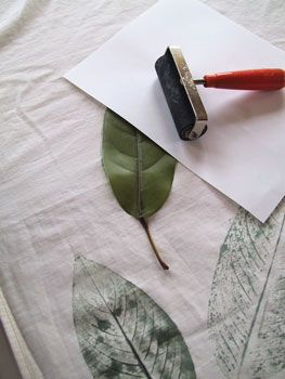 Try This: Projects for the Bathroom: Leaf Print Shower Curtain #fabricstamping