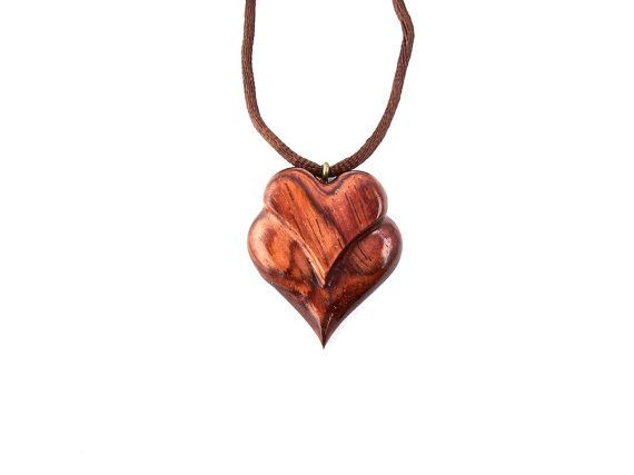Wooden Heart Necklace Hand Carved Wood Necklace Wooden Heart Pendant Wooden Jewelry