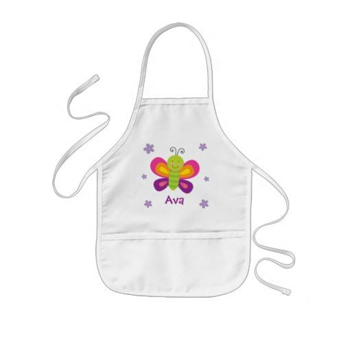 Colorful Butterfly Personalized Kids Apron is part of Kids Crafts Butterfly Birthday Parties - Personalized kids apron featuring a colorful butterfly with a beautiful purple floral background  Cute and fun design for special for girls  Custom monogrammed apron