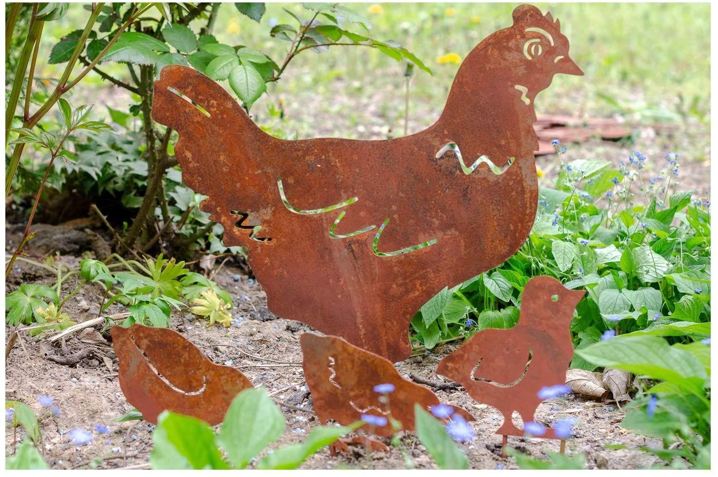 Gartenstecker Huhn Mit Kuken Im Antik Stil Antik Gartenstecker Stil
