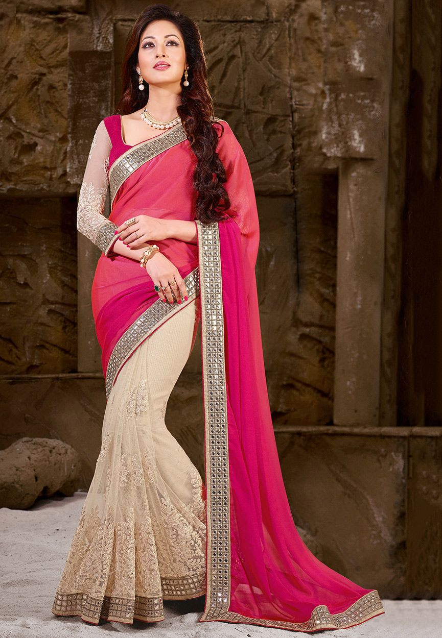 2ef51377496 Buy Half N Half Georgette and Net Saree in Fuchsia and Off White online