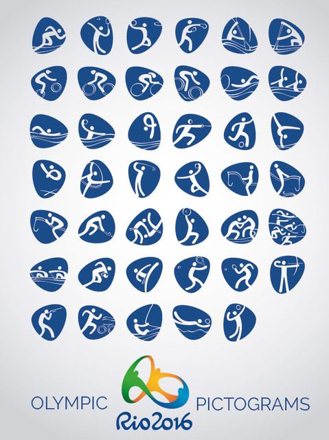 Official set of Rio 2016 vector icons pictograms for the 41 official ...