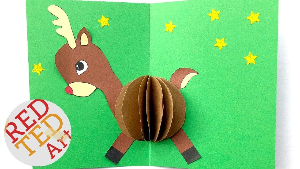 3d Christmas Card Diy Easy Rudolph Pop Up Card Templates Paper Crafts In Diy Christmas Card Temp Cards Diy Easy Diy Christmas Cards Pop Up Card Templates