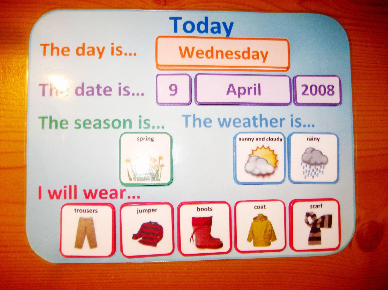 Kindergarten Calendar Folders : Weather wear calendar pdf routine organiser printable