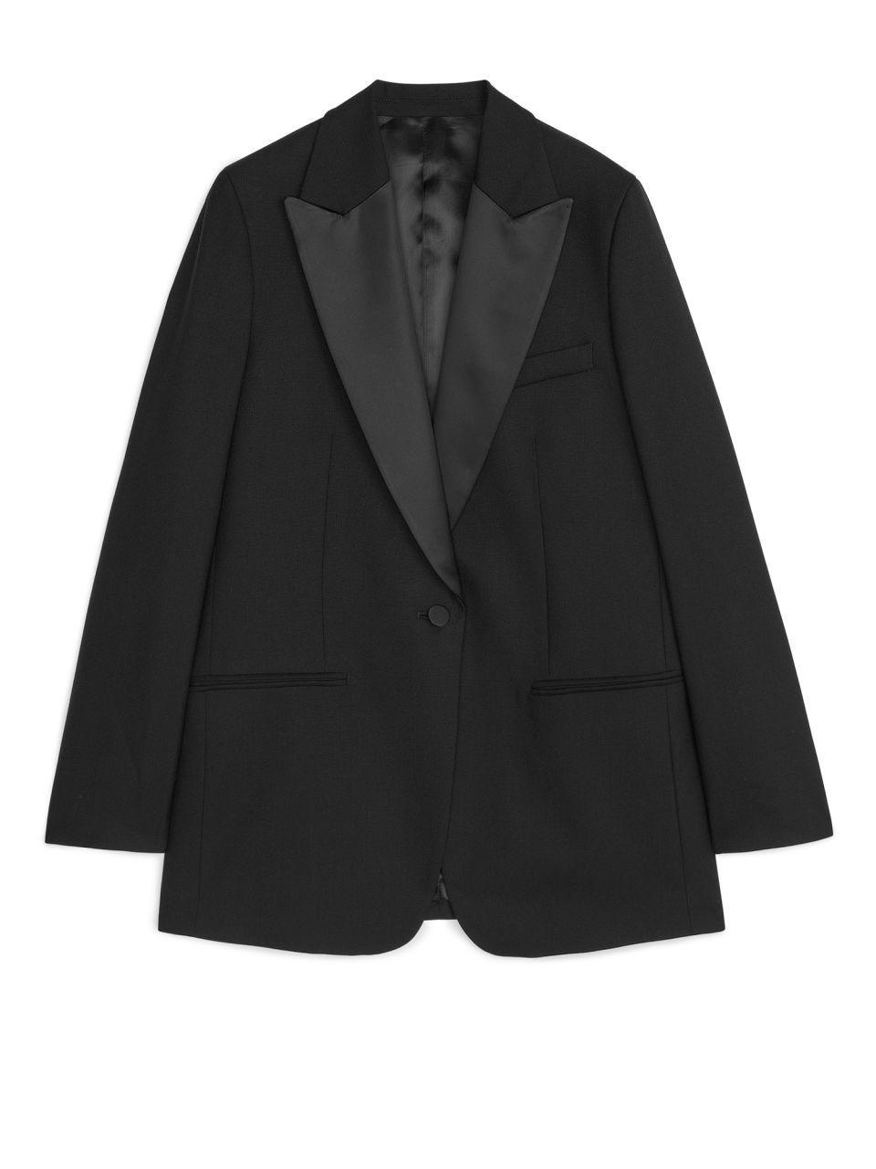 36684c84d9 Wool Hopsack Tuxedo Blazer - Black - Tailoring - ARKET GB in 2019 ...