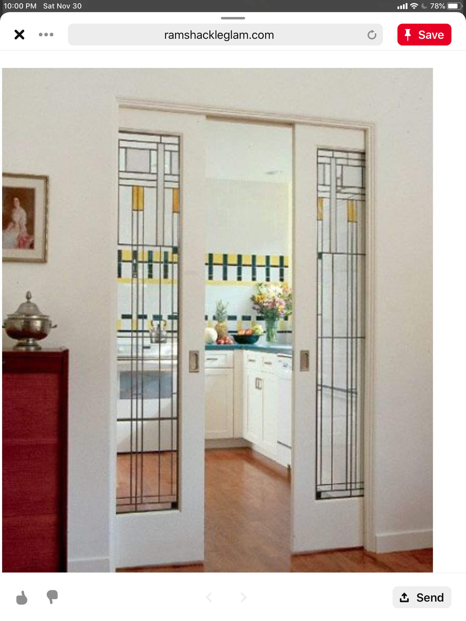 Pin By Maggie Coleman On Gh Study Glass Pocket Doors Craftsman Style Kitchen Home